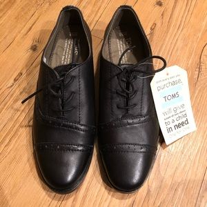 Toms | Leather Mocha Brogue Leather Oxfords